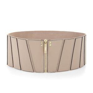 BCBGMaxAzria Paneled Zip Front Belt Faux Leather